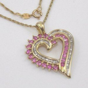 Jewelry - 10K Gold Pink Sapphire Diamond Heart Necklace